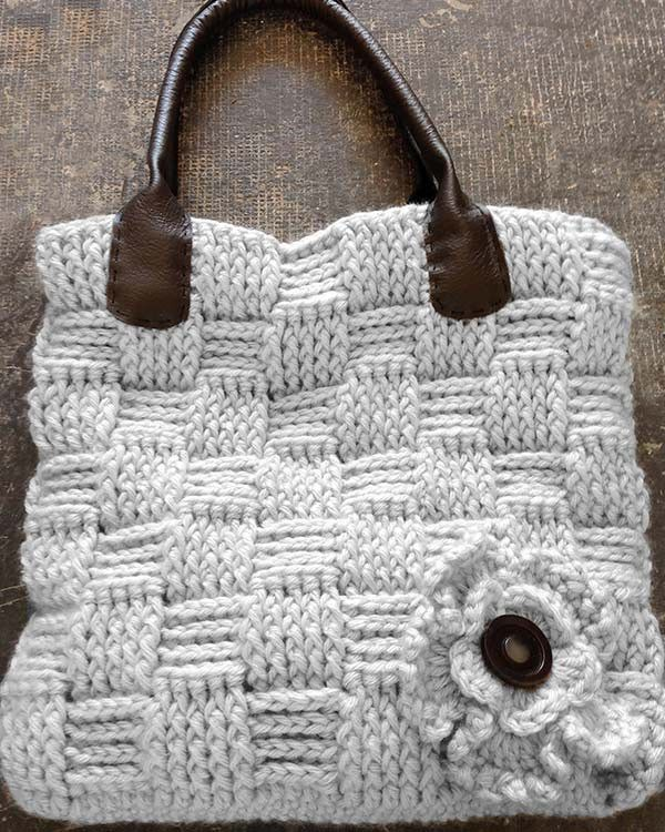 "Watch the review video for Basket Weave Bag Crochet Pattern! Original Design By: Maggie Weldon Skill Level: Easy Size: About 13"" wide and 12"" high Materials: Bulky Weight Yarn : Main Color (MC) – 14oz"