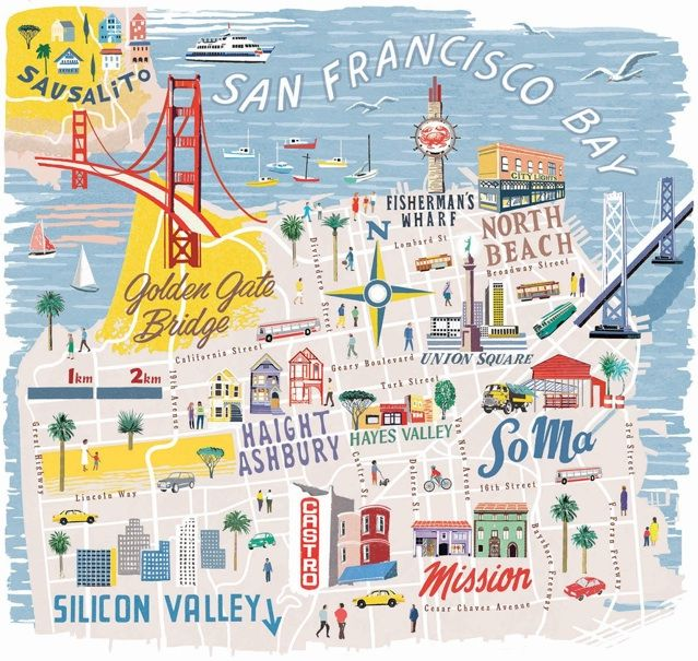 San Francisco map for National Geographic Traveller by Anna Simmons // Carte Illustrée de San Francisco Usa