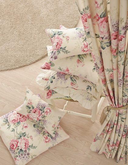 Шторы с розами в стиле Прованс из льна