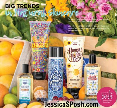 New Perfectly Posh Spring Summer 2017 products!  Naturally based, vegan and cruelty free skin care options all made in the U.S.A.  Made with the best natural ingredients including: sea salt, Dead sea salt, shea butter, cocoa butter, mango butter, coconut oil, essential oils, oleosomes, glycolic acid, alpha hydroxy acids, charcoal, volcanic ash, sugar beads, glycerin and sustainably sourced palm oil.  I'm especially excited for the in shower lotion!  https://jessicasposh.po.sh/join