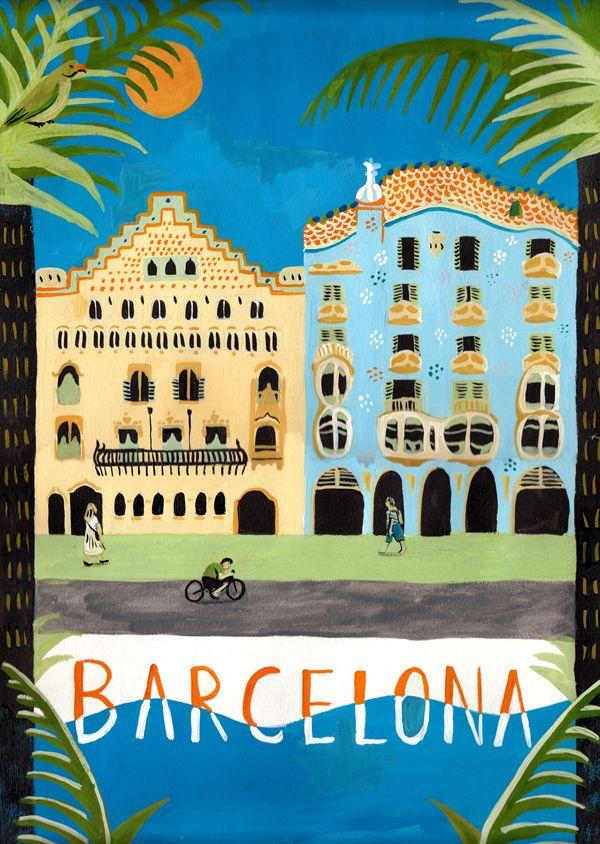 Barcelona  / Montones de pósters con ilustraciones de diferentes ciudades