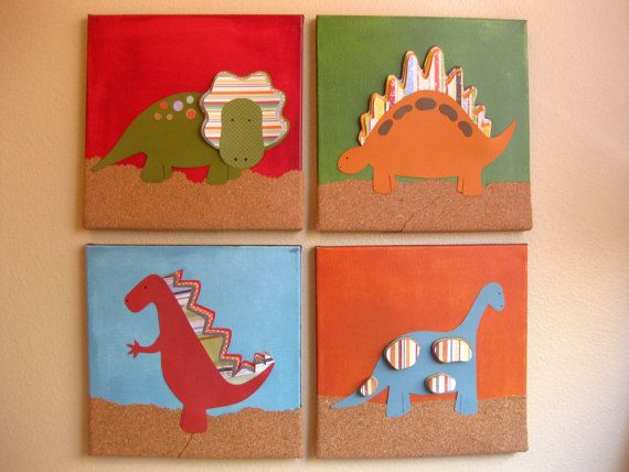 Dinosaur art.  I could make these for the kids' playroom
