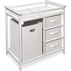 @Overstock.com - Modern White Changing Table with Hamper and Three Baskets  - The modern white changing table has a casual look and is conveniently gender-neutral. It comes with a hamper, changing pad, changing table, shelves, and storage drawers. With safety rails on all sides, changing a diaper has never been easier.  http://www.overstock.com/Baby/Modern-White-Changing-Table-with-Hamper-and-Three-Baskets/6297192/product.html?CID=214117 $97.19