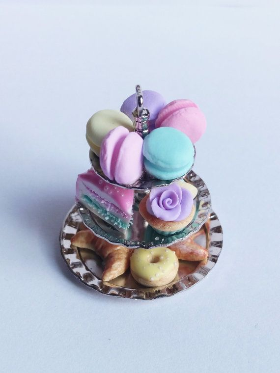 Romantic cake stand with macarons cupcake by ManthaCreaMiniatures