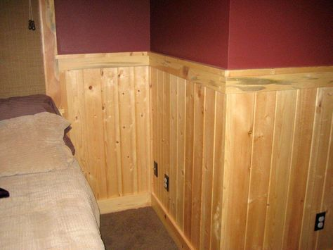 Entrancing Pictures Of Knotty Pine Lumber : Exquisite Image Of Home Interior Decoration Using Red Maroon Wall Paint Including Solid Pine Wood Wainscoting And Solid Knotty Pine Lumber Wall Panel