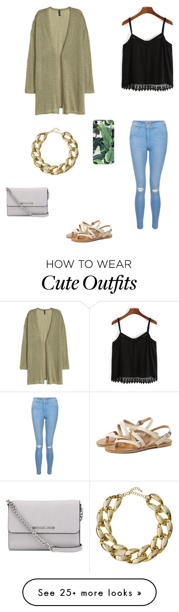 """""""Cute summer outfit"""" by princessrena on Polyvore featuring H&M, New Look, Kenneth Jay Lane and MICHAEL Michael Kors"""