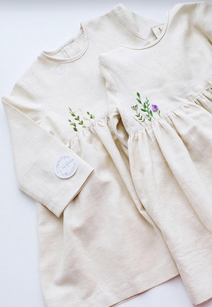 3349147f82e Handmade Embroidered Linen Baby Toddler Dresses