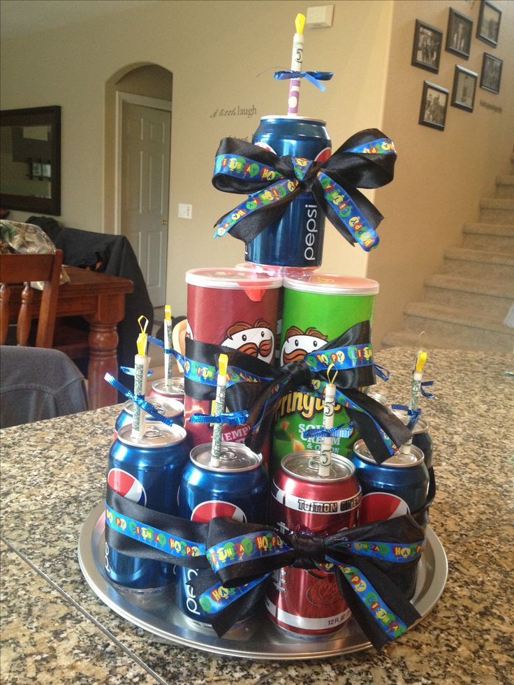 Creative birthday cake...money, soda and Pringles...what more could you ask for in a gift?