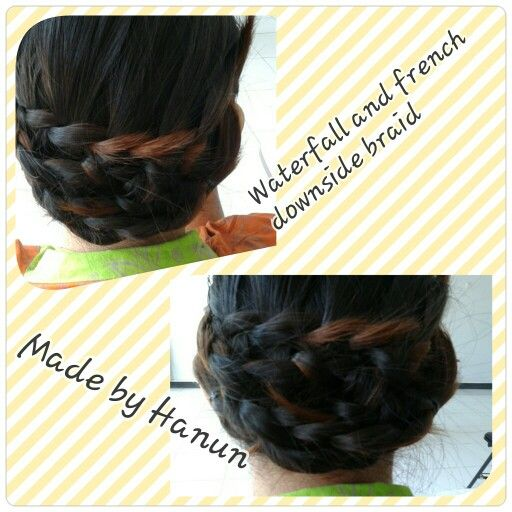 Waterfall and french braid combination by Hanun