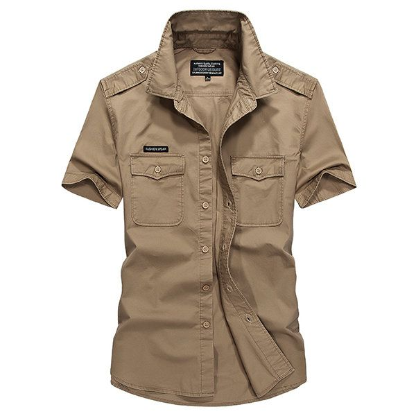 Cotton Casual Loose Breathable Chest Pockets Short Sleeve Cargo Dress Shirts for Men