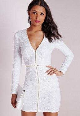 Lace Plunge Zip Long Sleeve Bodycon Dress White