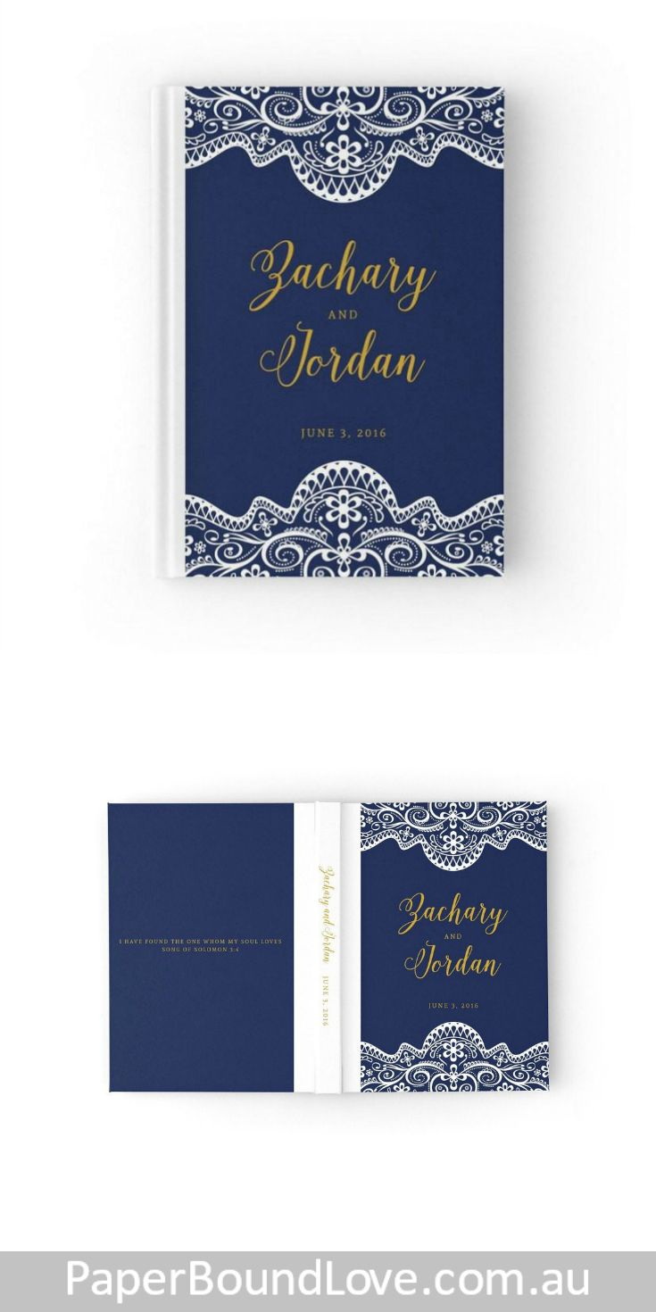 Lovely Lace | Navy Wedding Guest Book by PaperBoundLove
