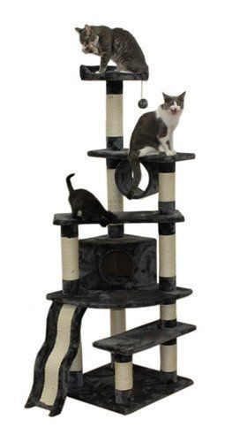"71"" Shanghai Cat Tree in Gray - Premium Cat Tree for Large Cats and Kittens, Cat Furniture Bundles with Scratching Post, Cat Condo, Cat Tunnel and Cat Ramp, Cheap Cat Trees and Condos"