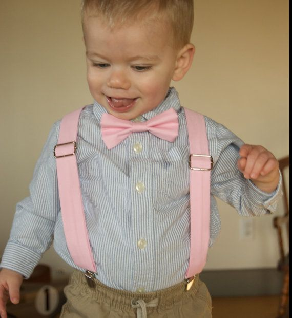 Pink Bow Tie & Suspenders Set  baby pink  light pink by DapperGent