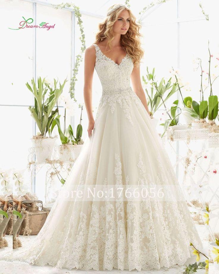 Crystal Elegant Long A Line Wedding Dress Backless Beading Appliques Vintage