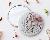 Pocket Mirror, Compact Mirror, Gift for Her, Christmas Gift, Bridesmaid Gift, 76mm Mirror, Stocking Filler, Rustic Mirror, Purse Mirror