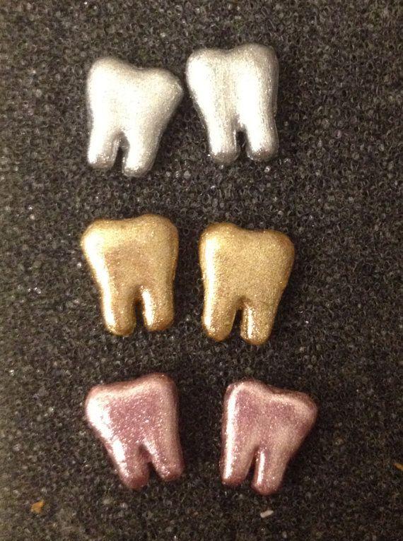 Tiny Teeth Stud Earrings by SparklyTeethDDS on Etsy, $4.00