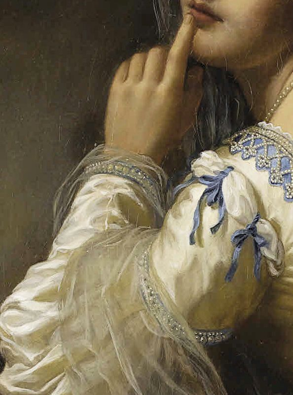 Pierre Auguste Cot ( 1837 - 1883)  Jeweled sleeve Detail .