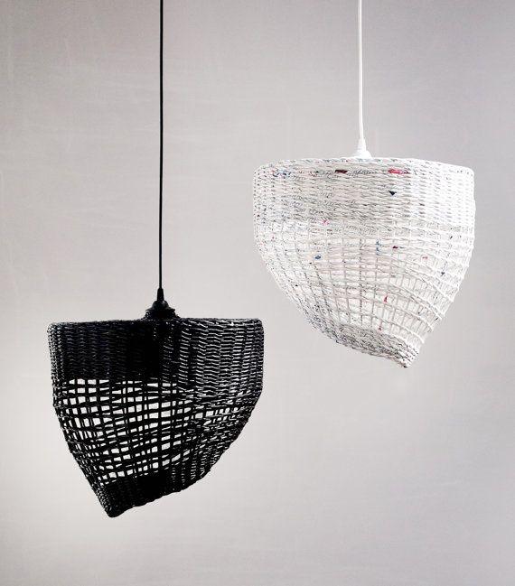 Geometric pendant eco lamp Black white hanging lamp Original handmade lamp Decorative Lampshade over the table Minimal light Coffee & Milk