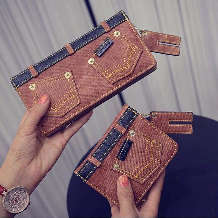 Womens/Men Cute Denim/Jeans Print Slim Bifold Id Wallet Coin Purse Mini Handbag