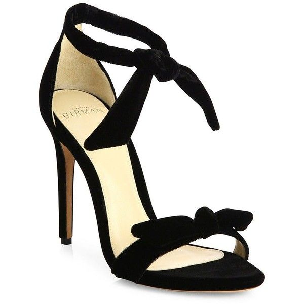 Alexandre Birman Clarita Velvet Ankle-Tie Sandals found on Polyvore featuring shoes, sandals, heels, apparel & accessories, black, open toe sandals, ankle tie sandals, padded sandals, black ankle wrap sandals and black heeled shoes