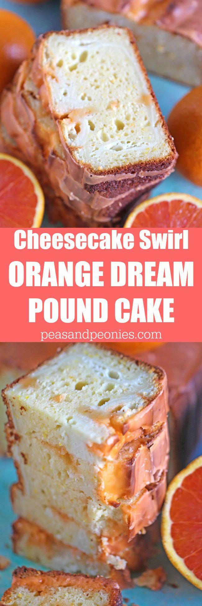 Verträumte Orange Pfund Kuchen mit Orange Glaze ist reich und würzig, mit einem schönen orangefarbenen Duft und einem cremigen Orangengeschmack Käsekuchen wirbeln.