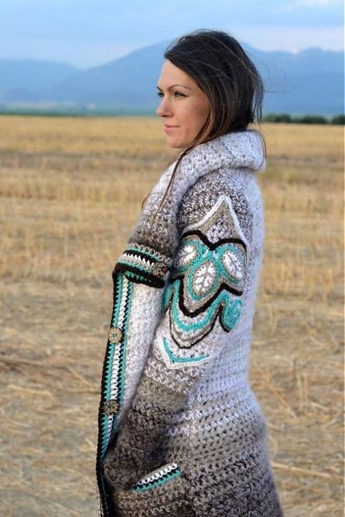Beautiful crocheted sweater jacket.  Love the color combination