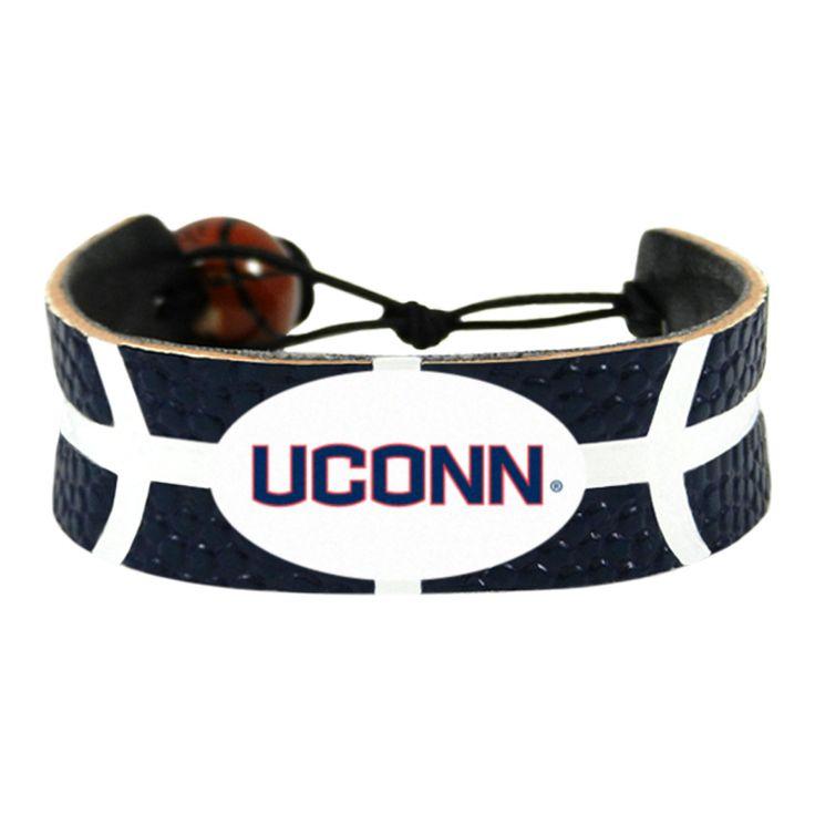 UConn Huskies White Ribs On Navy Leather Bracelet