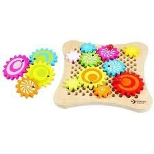 Gear Game -  great game that teaches hand-eye coordination & finger. Put together different types of gear sequences, & as the child adds or subtracts gears to the board, they are also taught cause & effect, as the gears may turn one way or another.   $39.99 - kidstuff