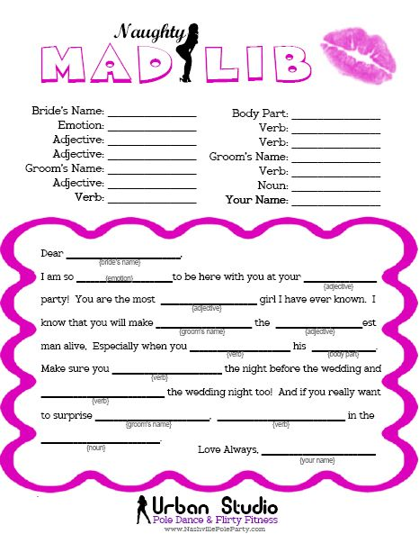 Bachelorette Party Game - The Naughty Mad Lib.  Click the image and you can print it for free - compliments of Miss Fit Academy - Nashville's hottest pole dance studio!