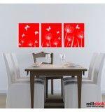 Sticker trei tablouri cu fluturi si papadii
