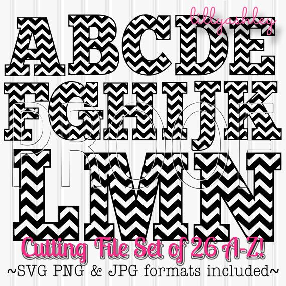 Cutting Files Chevron Letters Set Includes A through by LillyAshley