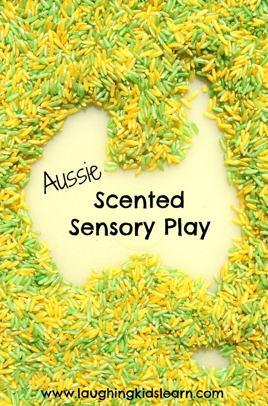 Australia Sensory Rice play for kids. I love playing with coloured rice! So do my kids, :). I had never thought of adding sent though. Great idea.