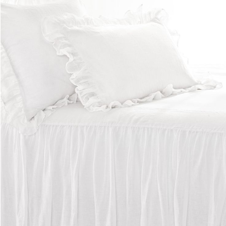 Pine Cone Hill | Savannah Linen Gauze White Bedspread | A light-as-air, beautifully draped linen bedspread as gracious as its Southern inspiration. Lined top with lined, 3-sided skirt.