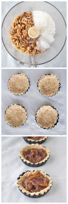 Coconut Caramel Tartlets.  Only 6 ingredients and a few minutes you can make a decadent treat with no added sugar.  #vegan #glutenfree #grainfree #paleo