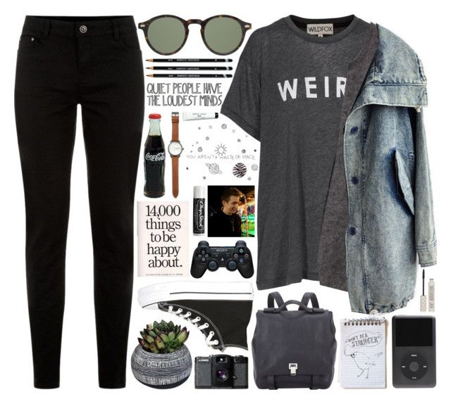 """""""M I R A N D A"""" by crunchypeanutbutter ❤ liked on Polyvore featuring Half Light Honey, Converse, Wildfox, Moscot, Sony, Jack Spade, Proenza Schouler, Chapstick, Lomography and Bobbi Brown Cosmetics"""