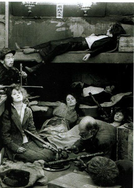 Opium den, the fact is they were getting opium, morphene and weed in their medicines from the doctors...