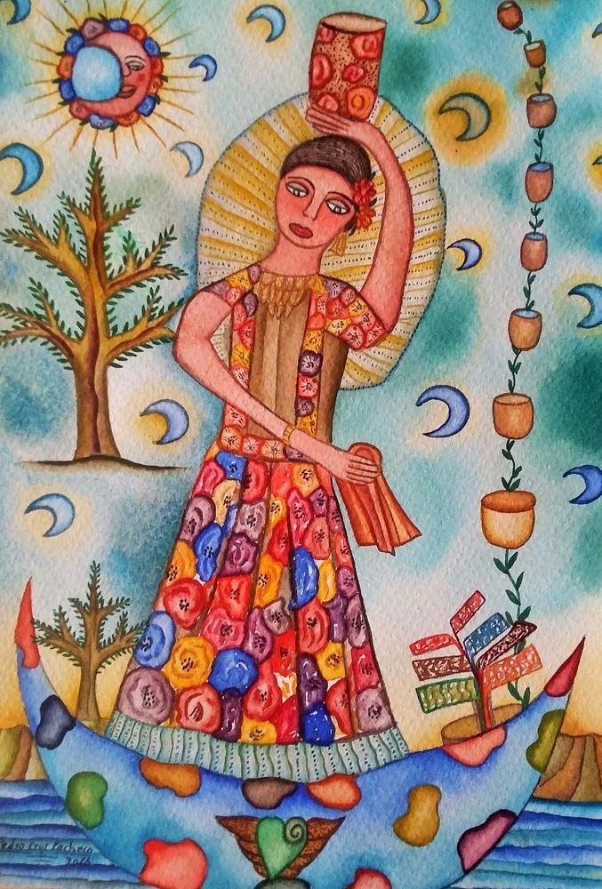 Painting Oaxaca Artist Pedro Cruz Pacheco Tehuana dress  Mexican art watercolor