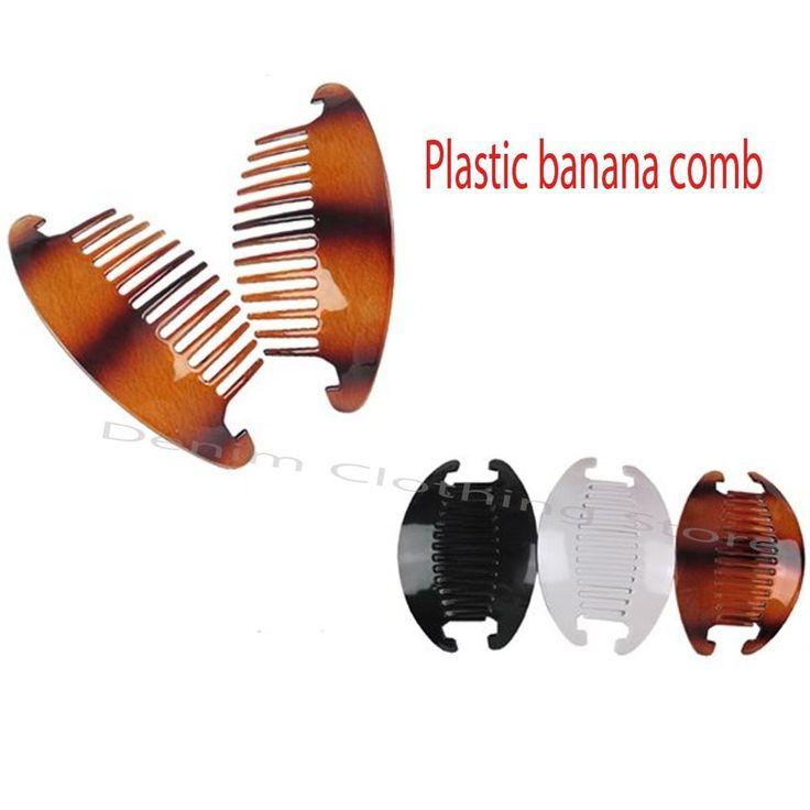 3 12set 24pc Jumbo Interlocking Jaw Hair Comb Banana