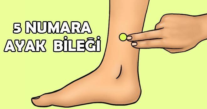 5 Numara Ayak Bileği: Bu nokta ayak bileğinizin iç tarafında çıkıntılı kemiğin 5 cm yukarısındaki noktadır.Her gün baş parmağınız ile bastırın ve yavaş yavaş basıncı azaltın. Gün boyu ayaklarda biriken vücud sıvısını dışarı atmayı sağlayan sinirleri harekete geçirir. Vücuttaki fazla sıvıyı atarak kilo vermenizi sağlar.