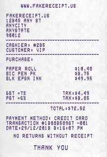 Free Online Receipt Maker - Fake Receipt - Custom Receipt - Sales Receipt