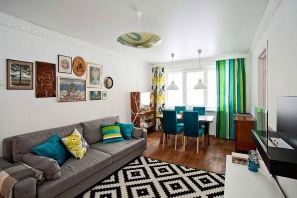 kleines-wohnzimmer-essbereich-modern-tuerkisblau-gruen-graues-sofa