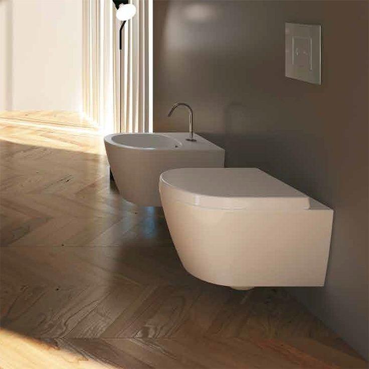Sanitari sospesi moderni dalla forma tondeggiante dotati di sedile con chiusura frizionata di serie adatti per bagni di ogni tipologia