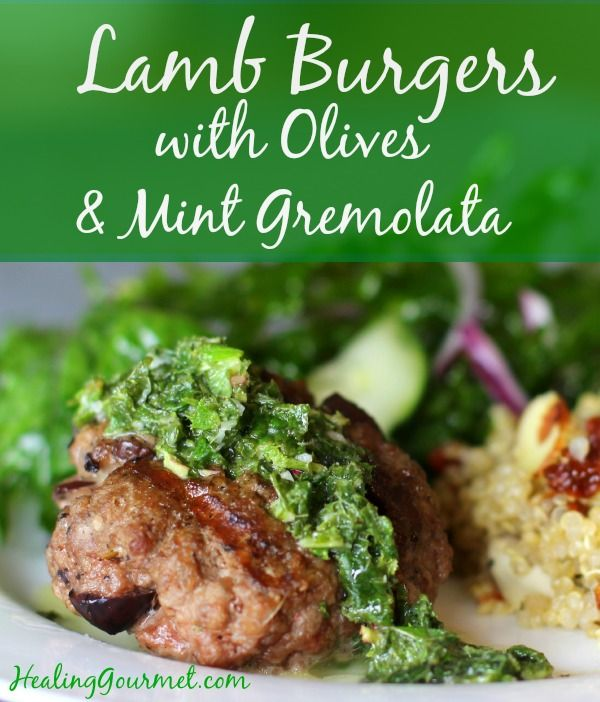 Quick and delicious lamb burgers with olives and mint
