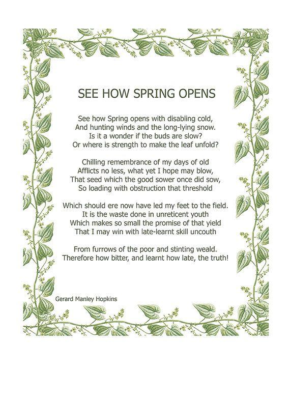 Spring Gerard Manley Hopkins Religious by MarcadeVintagePrints