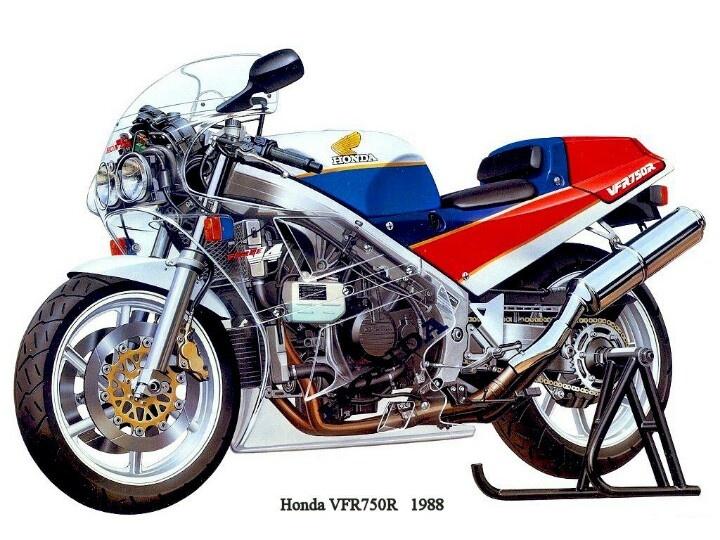Tech drawing Honda VFR750R RC30 cutaway