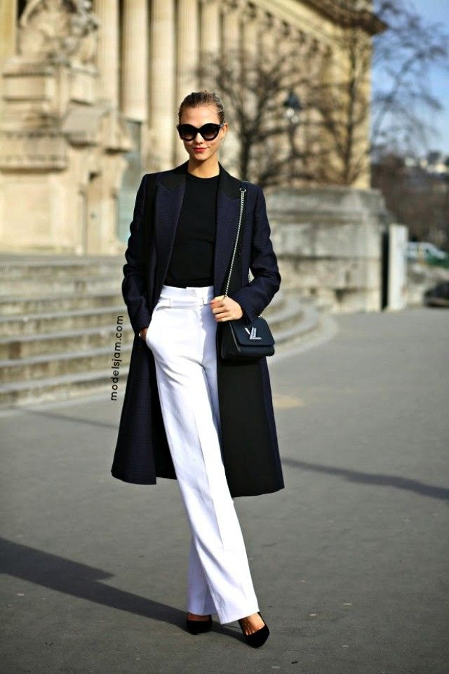 Model-Off-Duty Style: Copy Karlie Kloss' Work-Perfect White Pants Look via @WhoWhatWear