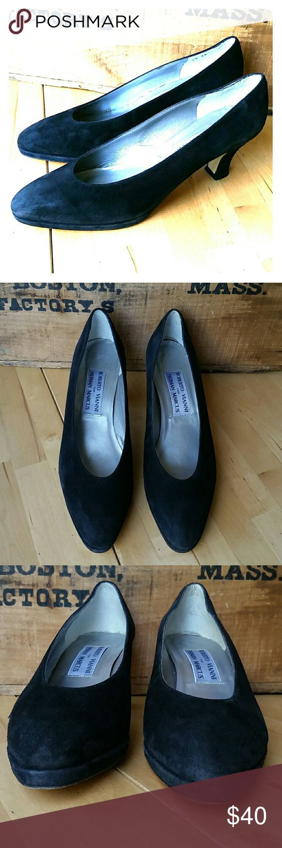 Roberto Vianni Neiman Marcus Black Suede Pumps Luxurious shoe in a rare, narrow size, 9.5AA!!   Roberto Vianni design for Neiman Marcus in a rich, black suede.   All leather. Made in Italy. Excellent Used Condition. Roberto Vianni for Neiman Marcus Shoes Heels