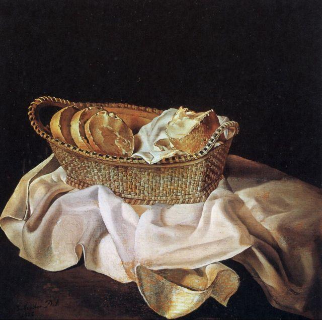 Salvador Dali >> La corbeille de pains, 1926 | (huile, reproduction, copie, tableau, oeuvre, peinture).