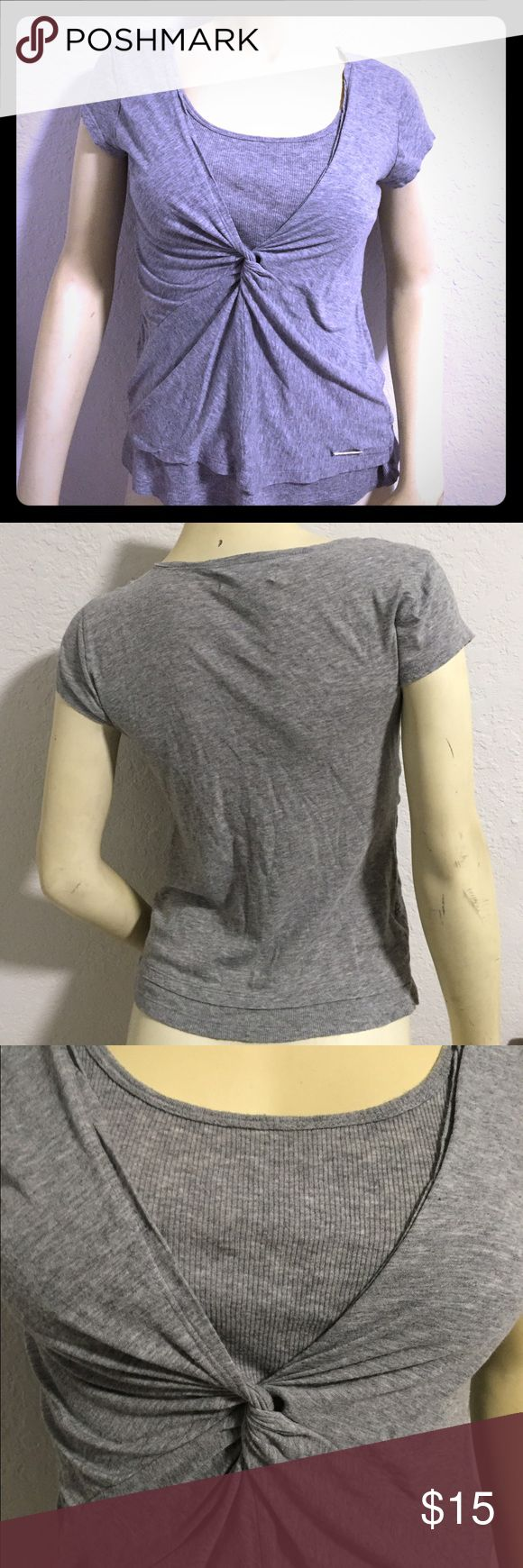 Michael Kors Knotted T-Shirt Super comfortable gray Michael Kors t shirt with knot detail at front. For a little dressier casual look. Size small. Color is gray. Michael Kors Tops Tees - Short Sleeve